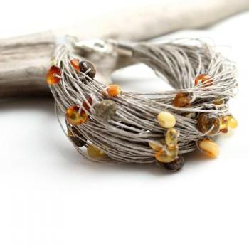 Baltic Amber Bracelet / Modern Jewelry / Multistrand Organic Linen / Eco Style / Orange Yellow Brown Grey / Gift for her / Natural Fashion / Organic Bracelet / Eco Fashion